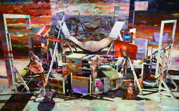 《画布のステージ》 oil on canvas , 1620×260(mm) , 2015